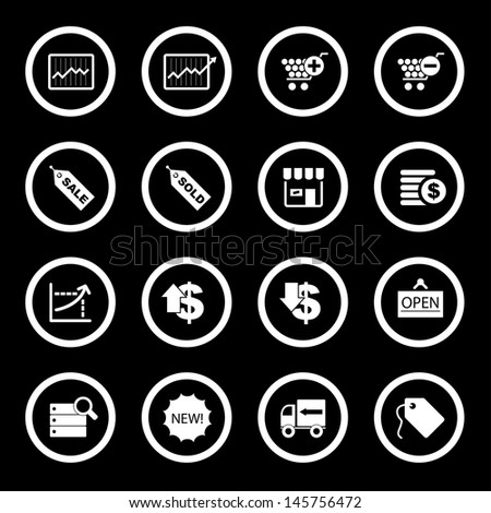 Vector illustration of business & shopping icons.