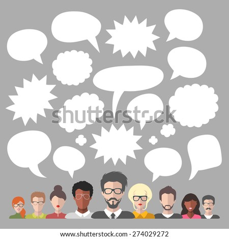 Vector illustration of business team management with blank speech bubbles in flat style - stock vector