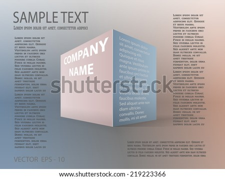 Vector illustration of business template poster. Imitation three-dimensional figure of box - stock vector