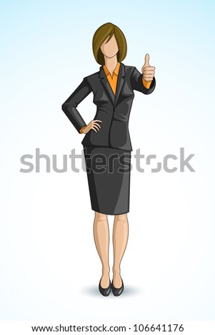 vector illustration of business woman gesturing thumbs up in formal suit - stock vector