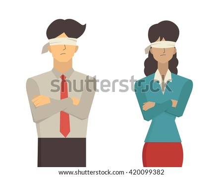 Vector illustration of businessman and businesswoman blindfolded, flat character design isolated on white background. - stock vector