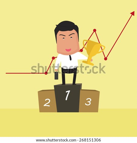 Vector illustration of businessman Champions  - stock vector