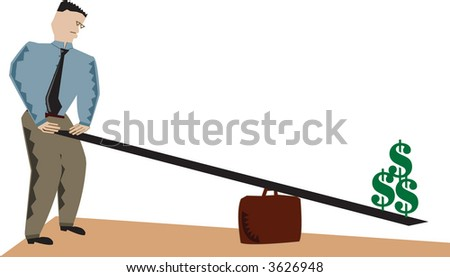 Vector illustration of businessman lifting dollars. - stock vector