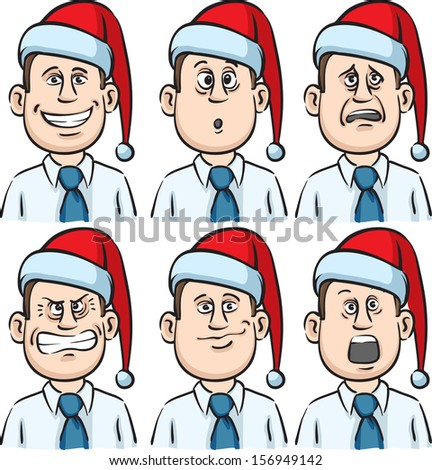Vector illustration of businessman many faces emotions with santa hat. Easy-edit layered vector EPS10 file scalable to any size without quality loss. High resolution raster JPG file is included. - stock vector
