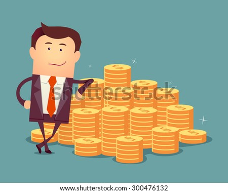 Vector illustration of businessman proudly standing with money staircase. Flat style business concept - stock vector