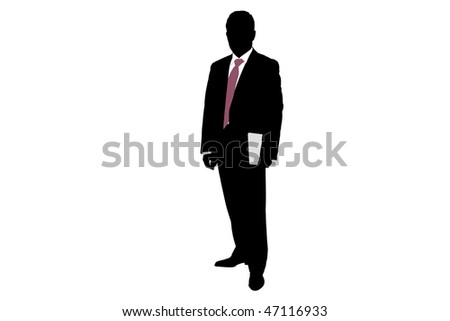 Vector illustration of businessman's silhouette with folder - stock vector