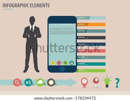 Vector illustration of businessman showing touchscreen device with colorful infographics paper template. - stock vector