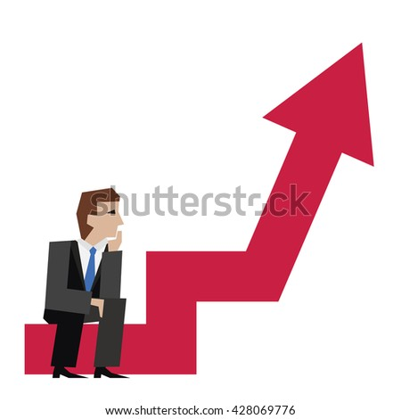 Vector illustration of businessman sitting on an arrow chart. Business concept. Businessman with arrow. Businessman is thinking while sitting. - stock vector