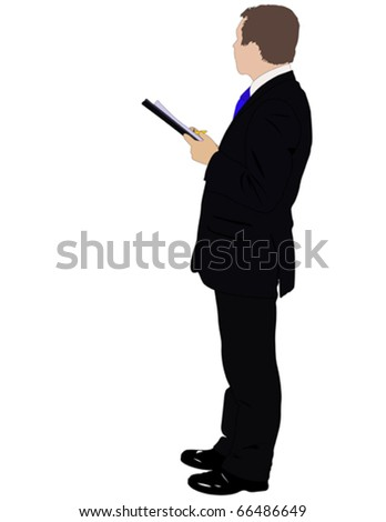 Vector illustration of businessman with folder