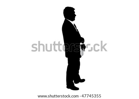 Vector illustration of businessman with the document in his hand - stock vector
