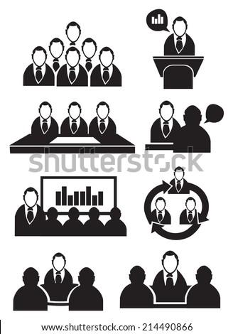 Vector illustration of businessmen in business settings isolated on white - stock vector