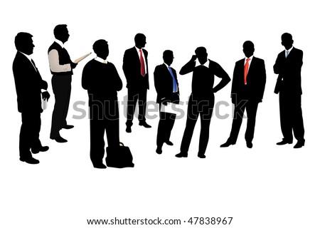 Vector illustration of businessmen under the white background - stock vector