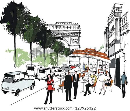 Vector illustration of cafe scene in Paris, France. - stock vector