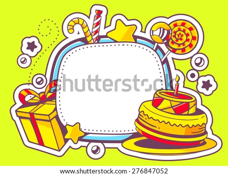 Vector illustration of cake, gift and confection with frame on green background with star and dot. Hand draw line art design for web, site, advertising, banner, poster, board and print.