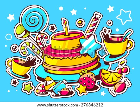 Vector illustration of cake with candle, sweets and cup of tea on blue background with star and heart. Hand draw line art design for web, site, advertising, banner, poster, board and print.   - stock vector