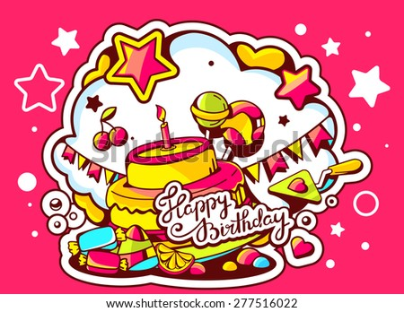 Vector illustration of cake with candle, sweets and flags with text happy birthday on red background with cloud.Hand draw line art design for web, site, advertising, banner, poster, board and print.   - stock vector
