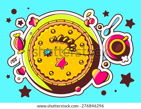 Vector illustration of cake with sweets and cup of tea on blue background with star and heart. Hand draw line art design for web, site, advertising, banner, poster, board and print.   - stock vector