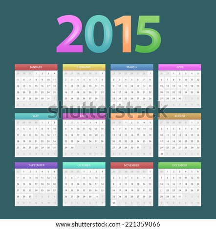 Vector illustration of Calendar for 2015