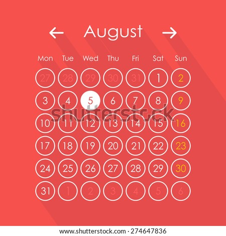 Vector illustration of calendar in flat style  - stock vector