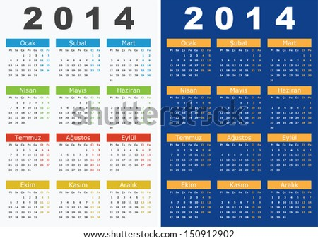 Vector illustration of 2014 Calendars in Turkish Language - stock vector