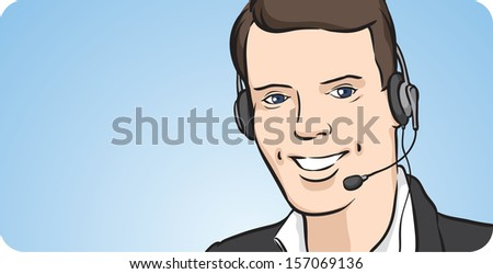 Vector illustration of call center man with headset smiling. Easy-edit layered vector EPS10 file scalable to any size without quality loss. High resolution raster JPG file is included.