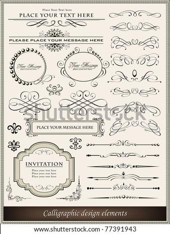 Vector illustration of calligraphic design elements and page decoration - stock vector