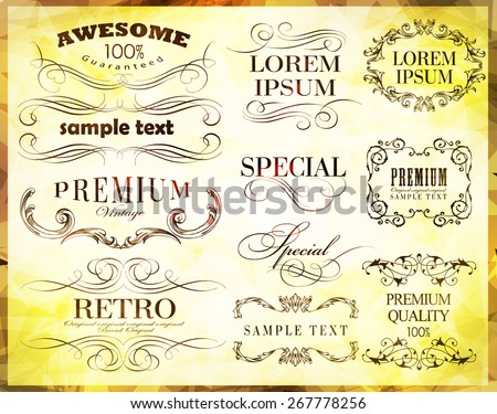 Vector illustration of calligraphic elements / old style/ retro vintage frame - stock vector