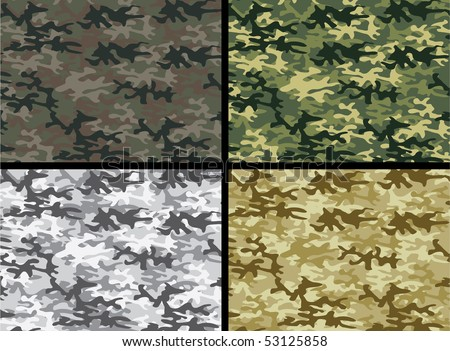 Vector illustration of camouflage collection - stock vector