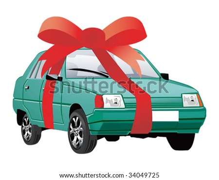 Vector illustration of car as a gift - stock vector