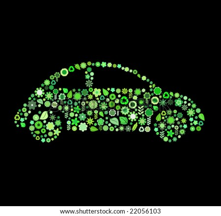 Vector illustration of car shape made up a lot of  green small flowers and leaf on the black background - stock vector