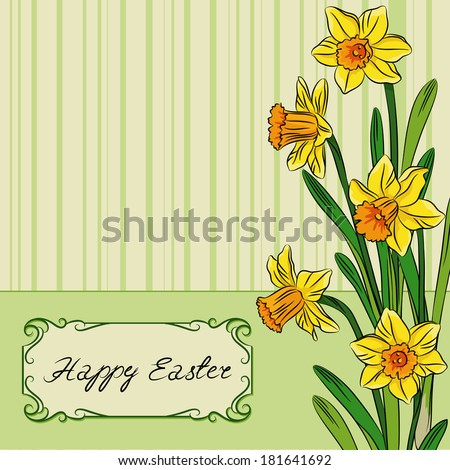 Vector illustration of card with easter daffodil in center and frame - stock vector