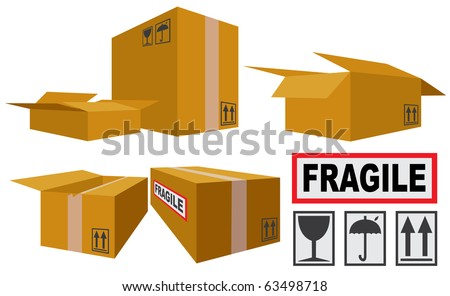 Vector illustration of Cardboard Boxes and icons - stock vector