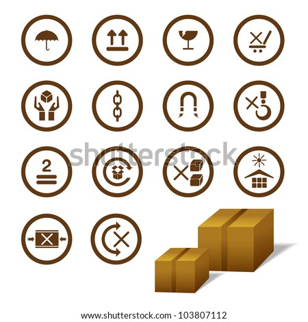 vector illustration of cargo symbol with cardboard box - stock vector