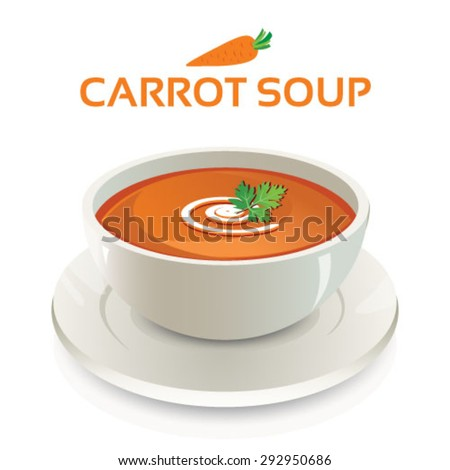 Vector illustration of carrot soup in a white ceramic bowl and cream swirl and coriander leaves garnish on isolated background with text and icon - stock vector