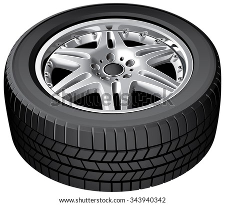 Vector illustration of cars wheel, isolated on white background. File contains gradients. No strokes, blends and transparency.  - stock vector