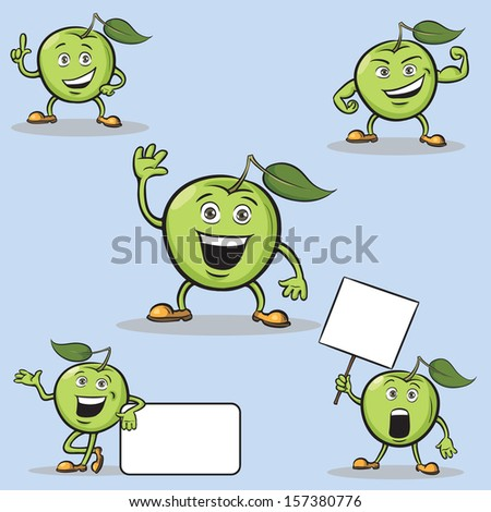 Vector illustration of cartoon apples figures. Easy-edit layered vector EPS10 file scalable to any size without quality loss. High resolution raster JPG file is included. - stock vector