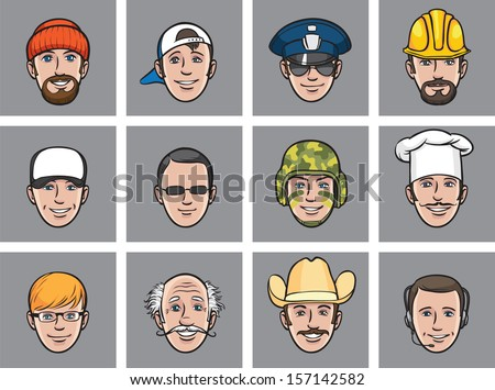 Vector illustration of Cartoon avatar faces various occupations. Easy-edit layered vector EPS10 file scalable to any size without quality loss. High resolution raster JPG file is included. - stock vector