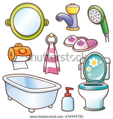 Bathroom Clipart Set Vector Illustration Cartoon Bathroom Element Set Stock Vector .