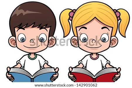 Vector illustration of cartoon boy and girl reading a book - stock vector