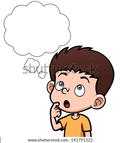 Vector illustration of Cartoon boy thinking with white bubble - stock vector