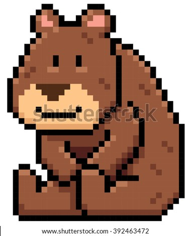 Vector illustration of Cartoon brown bear - Pixel design