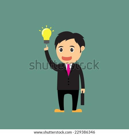 vector Illustration of cartoon businessman (boss, manager) show idea and that have idea for advertising and presentation. - stock vector