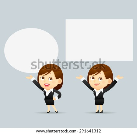 Vector Illustration of cartoon businesswoman explaining and pointing at blank white board, placard.  - stock vector