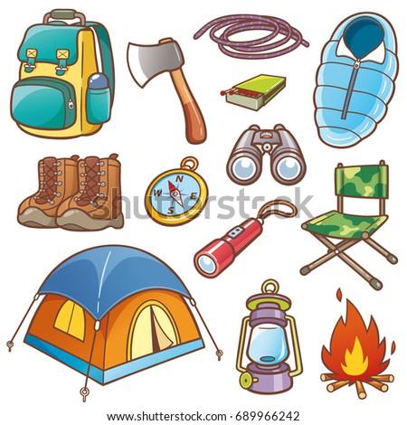 Vector Illustration Cartoon Camping Equipment Set Stock