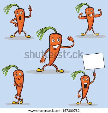 Vector illustration of cartoon carrots figures. Easy-edit layered vector EPS10 file scalable to any size without quality loss. High resolution raster JPG file is included. - stock vector