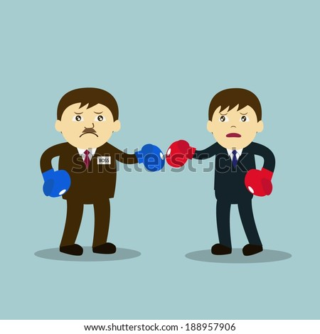 Vector illustration of cartoon character : boss and employee in boxing match. - stock vector