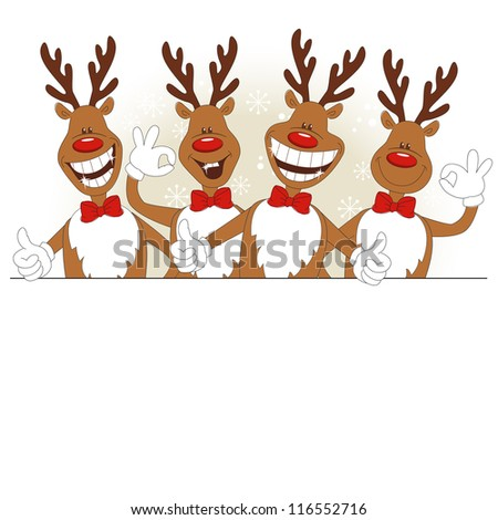 Vector illustration of cartoon Christmas deer and place for text - stock vector