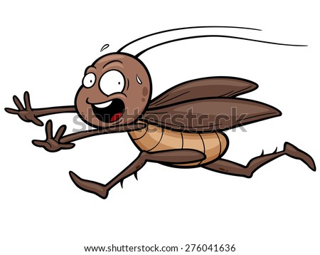 Vector illustration of cartoon cockroach running - stock vector