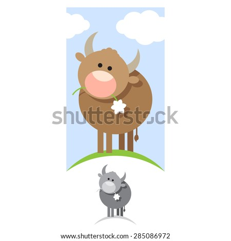 Vector illustration of Cartoon Cow. Bull in the meadow chewing flower plant. - stock vector