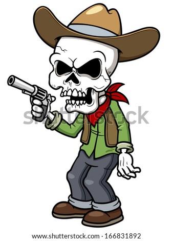 Vector illustration of Cartoon cowboy zombie - stock vector